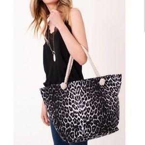 NEW Black Leopard print large tote